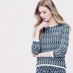 Loft blue printed linen high low sweater